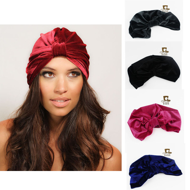 5196c4cef3d Fashion Women Turbantes Stretch Full Plain Velvet Turban Headband Twist  Hijab Hat Velvet Hair Accessories