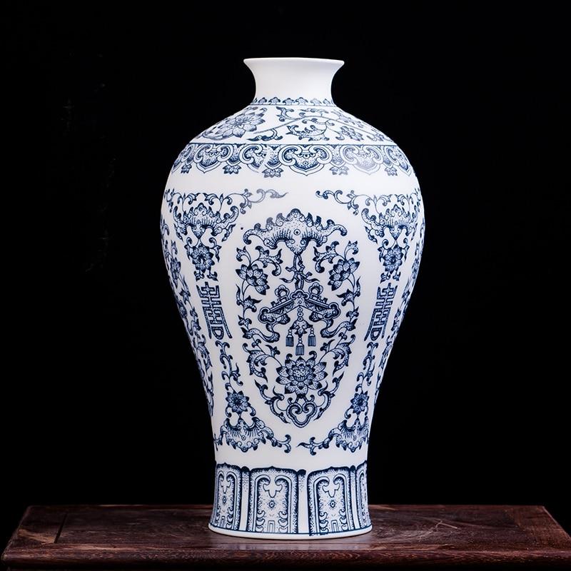 Blue and White Ceramic Vase Design Porcelain Flower Bat Pattern Vase Handmade Home Decoration Flower Vases vase