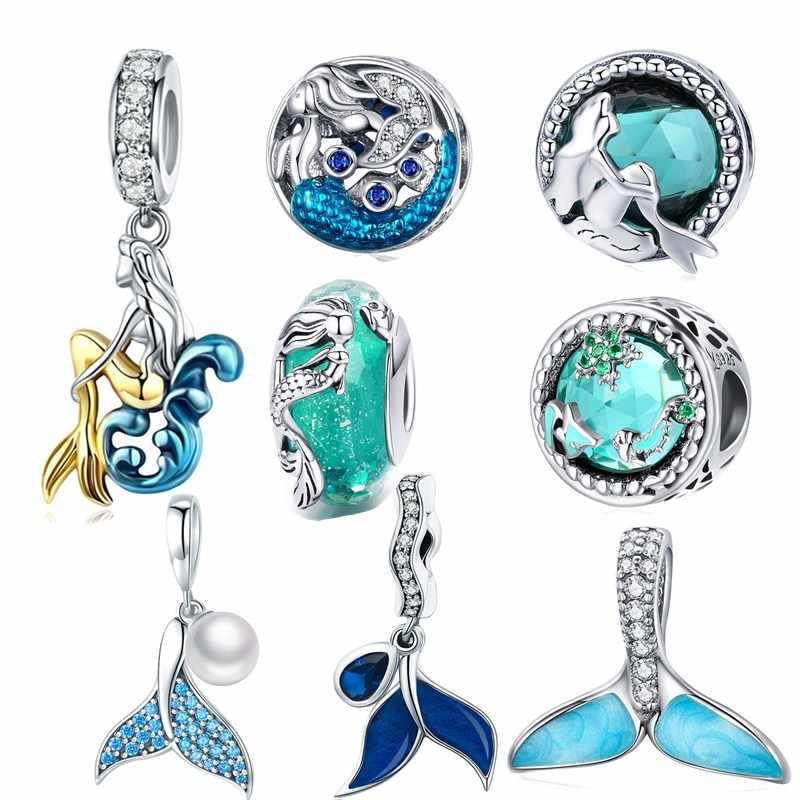 fit Pandora Bracelet Silver 925 Original Blue Sea Zircon Mermaid Beads S925 CZ Fishtail Pearl Charms for Chains Jewelry Making