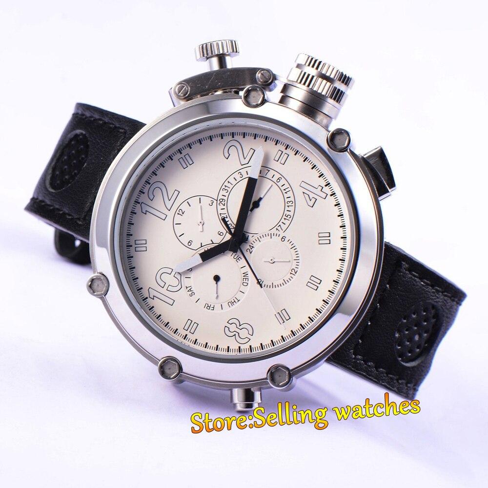 Fashion Parnis Mechanial 50mm Big Face white dial automatic Men's watch fashion parnis mechanial 50mm big face black dial automatic men s watch