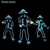 Light Up Luce Fredda Della Cina Antica Soldati Costume con Cappello Di Bambù Divertente FAI DA TE Carnevale Neon Striscia di Led Lampeggiante Compleanno Abbigliamento