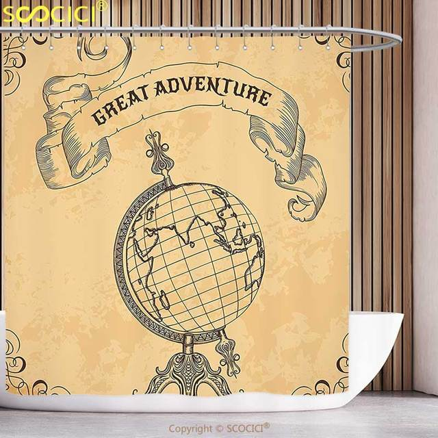 Funky Shower Curtain Apartment Decor Retro Globe Earth World With Great  Adventure Quote Boho Style Kitsch