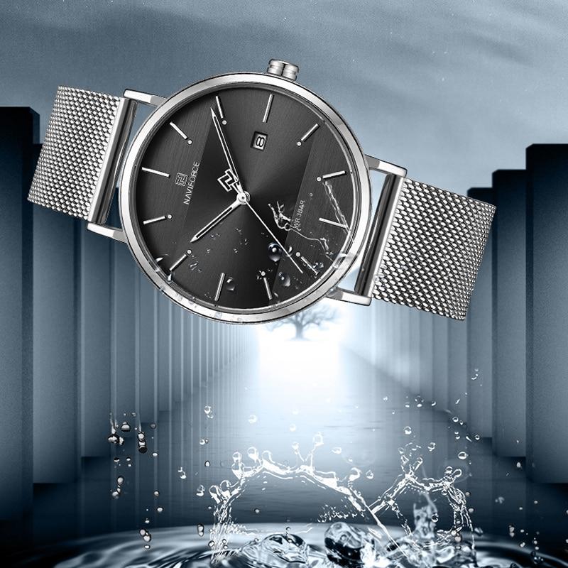 Image 4 - Men Watch Top Brand NAVIFORCE Stainless Steel Mesh Quartz Men's Watches Waterproof Date Business Wristwatch Relogio Masculino-in Quartz Watches from Watches