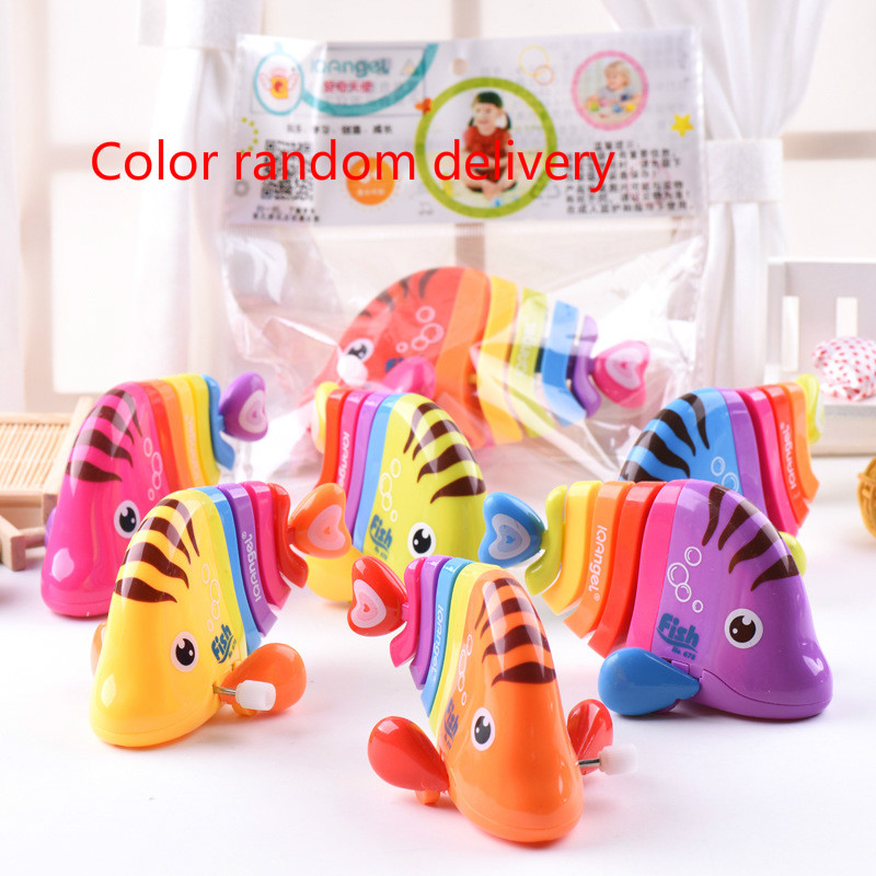 New Children Wind Up Colorful Toy Running Fish Funny Tail Shake Chain Clockwork Toys Gfit For 6-12months Baby Crawling Car