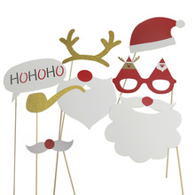 Pack of 8 Christmas Photo Booth Prop Photography Background Gift Festive Decoration Party Supplies