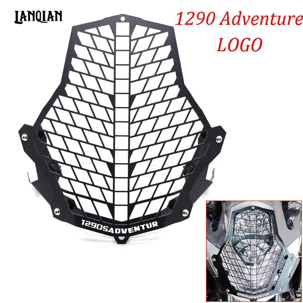 Hot Motorcycle Accessories For KTM 1290 Supre Adventure Headlight Guard Front Lamp Protector Cover Stainless Steel With LOGO motorcycle front rider seat leather cover for ktm 125 200 390 duke