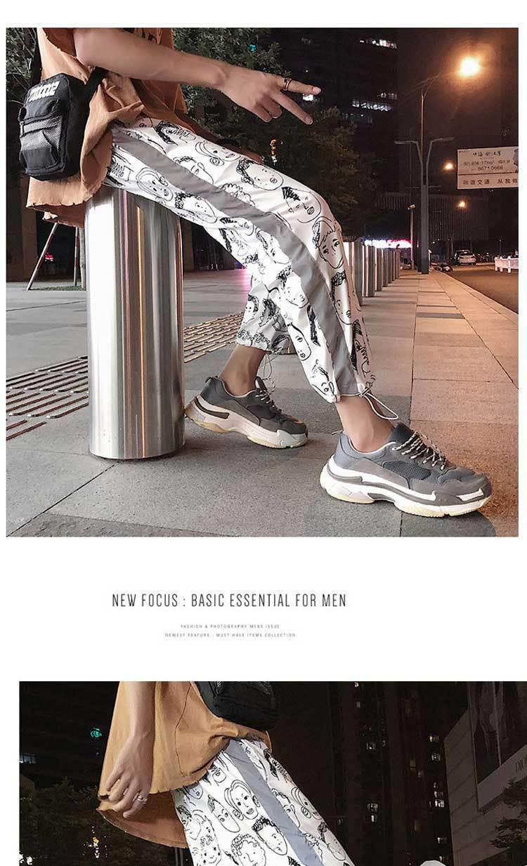HOUZHOU Reflective Harem Gothic Pants Women Hip Hop Streetwear Ankle Length Trousers Plus Size Mid Loose Pencil Pantalon Female 9