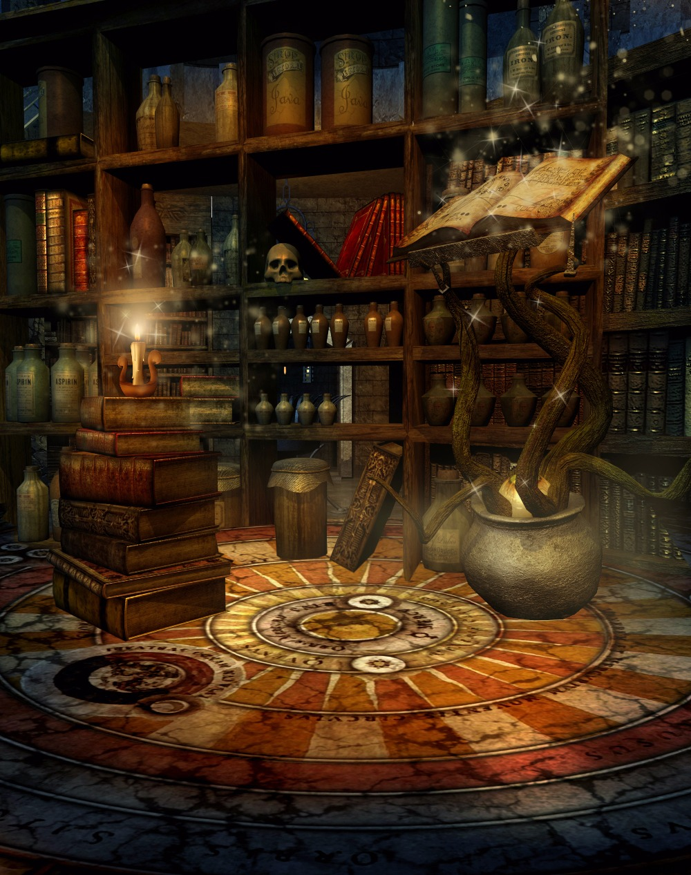 fantasy room magic book potions candles Photo Background Photography Backdrop Quality Vinyl thin vinyl vintage book shelf backdrop book case library book store printed fabric photography background f 2686