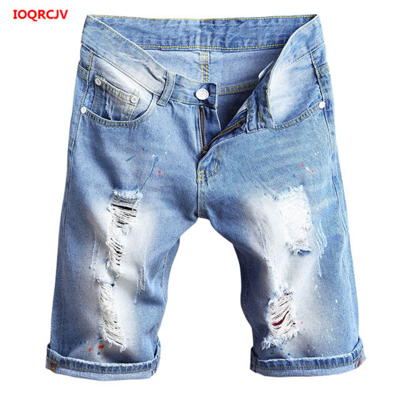 Summer Plus Size Shorts Feminino Washed Ripped Denim Capris Jeans Femme Boyfriends Large size Loose Ripped Holes Jeans Short 807