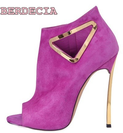 2017 newest triangle hollow out metal decorations peep toe ankle boots high quality suede metal heel violet black women shoes peep toe stiletto heel hollow out boots