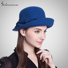 Sedancasesa nuevo 100% lana sombrero de fieltro de lana sombrero de cubo  señoras sombrero con flor hecho a mano invierno FW02302. a3653e6edfbf