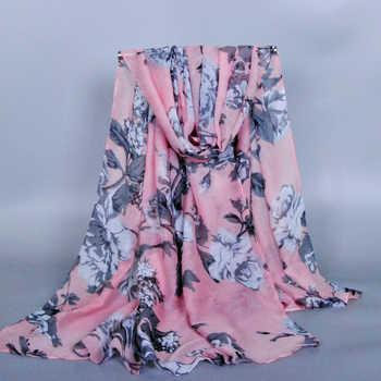 10pcs/lot printe big flower viscose design shawls cotton voile autumn wrap plain long hijab scarves/scarf 10pcs/lot 180*90cm