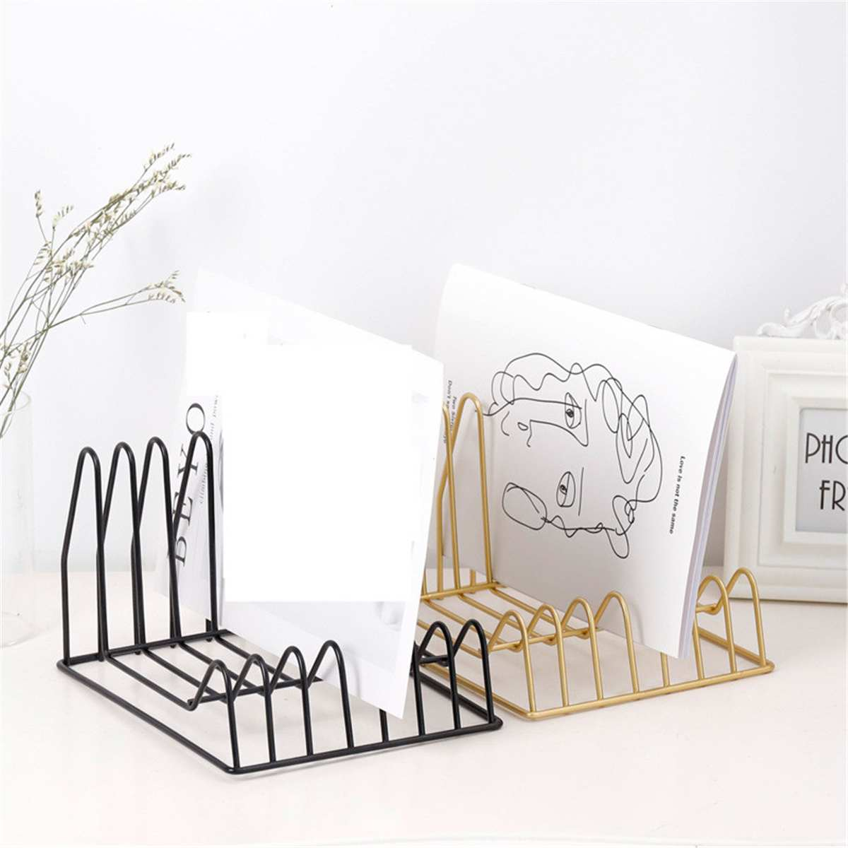Metal Bookshelf Letter Magazine Storage Rack Tray Holder Desk Organization