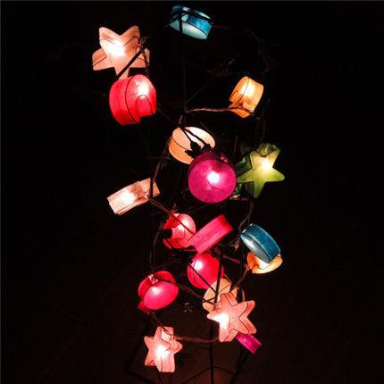 Tailândia Luzes Multicolor Estrela Sol Lua Artesanal Lanterna De Papel Faixa de Luz de Natal Fada Luminaria Garland Decoração Do Casamento
