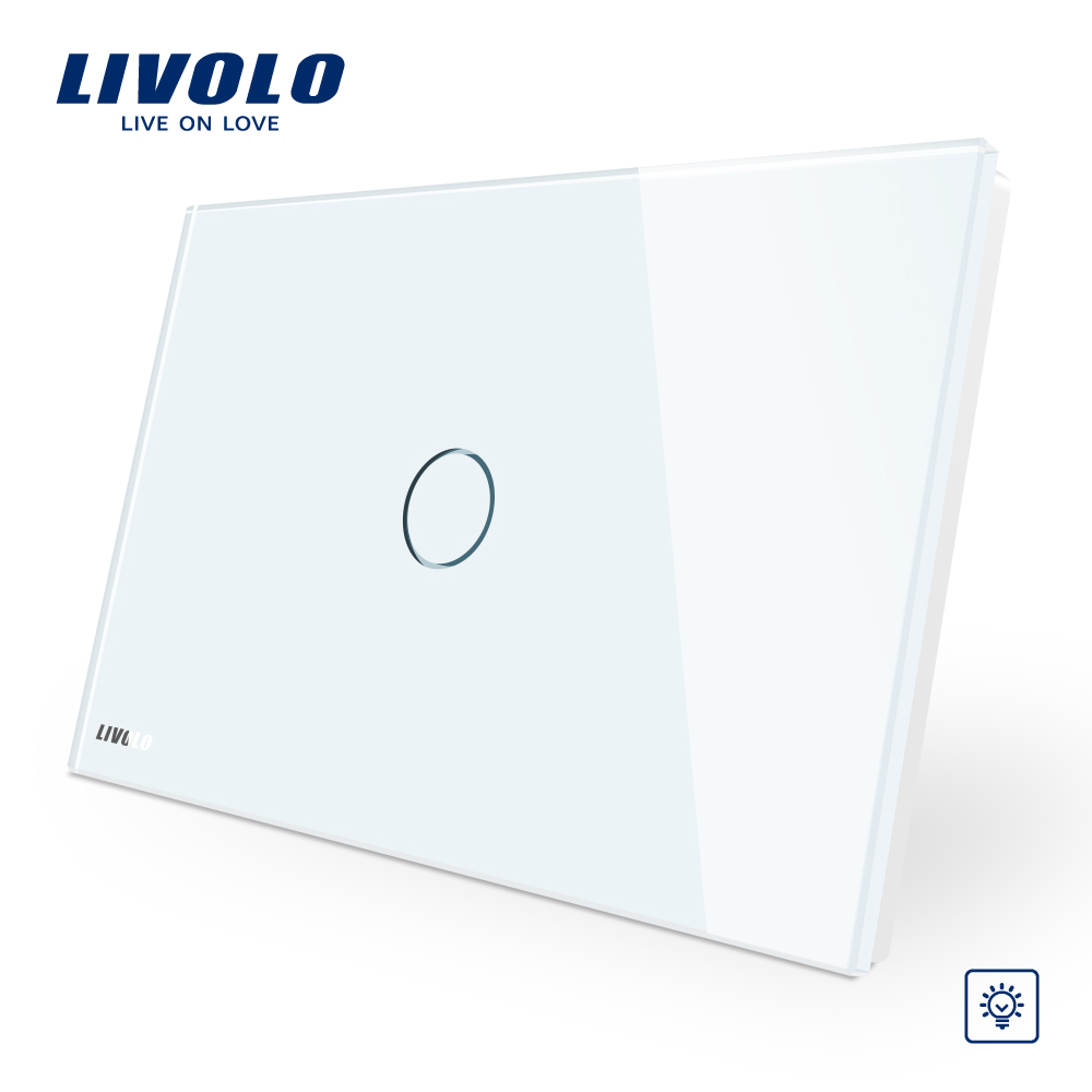 Livolo Manufacturer, White Glass Panel  Dimmer Wall Switch, AU/US standard, Light Home 1 Gang 1 Way VL-C901D-11 us au standard 2 gang 1 way glass panel smart touch light wall switch remote controller white black gold
