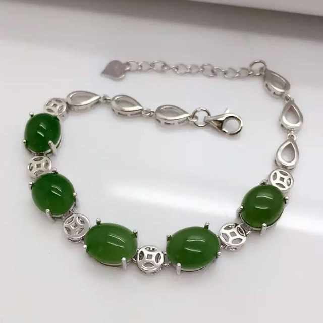GLY      925 sterling silver with natural jade bracelet