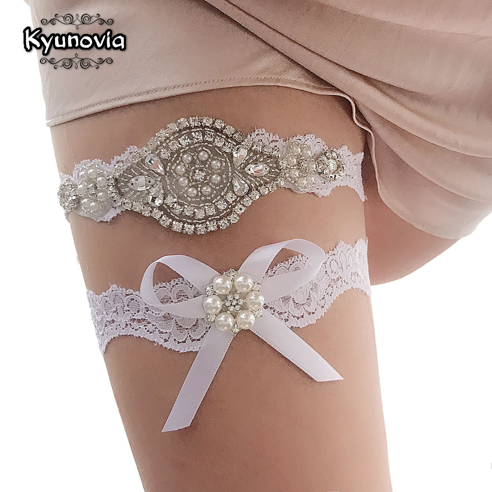 Kyunovia Crystal And Pearl Garter Bridal Garter Vintage Rhinestones Bridal Garter Lace Wedding Garter Set D98