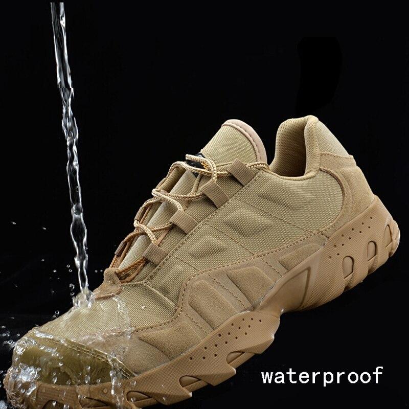Véritable cuir hommes chaussures de randonnée en plein air étanche respirant tactique Combat armée bottes désert formation baskets Trekking chaussure