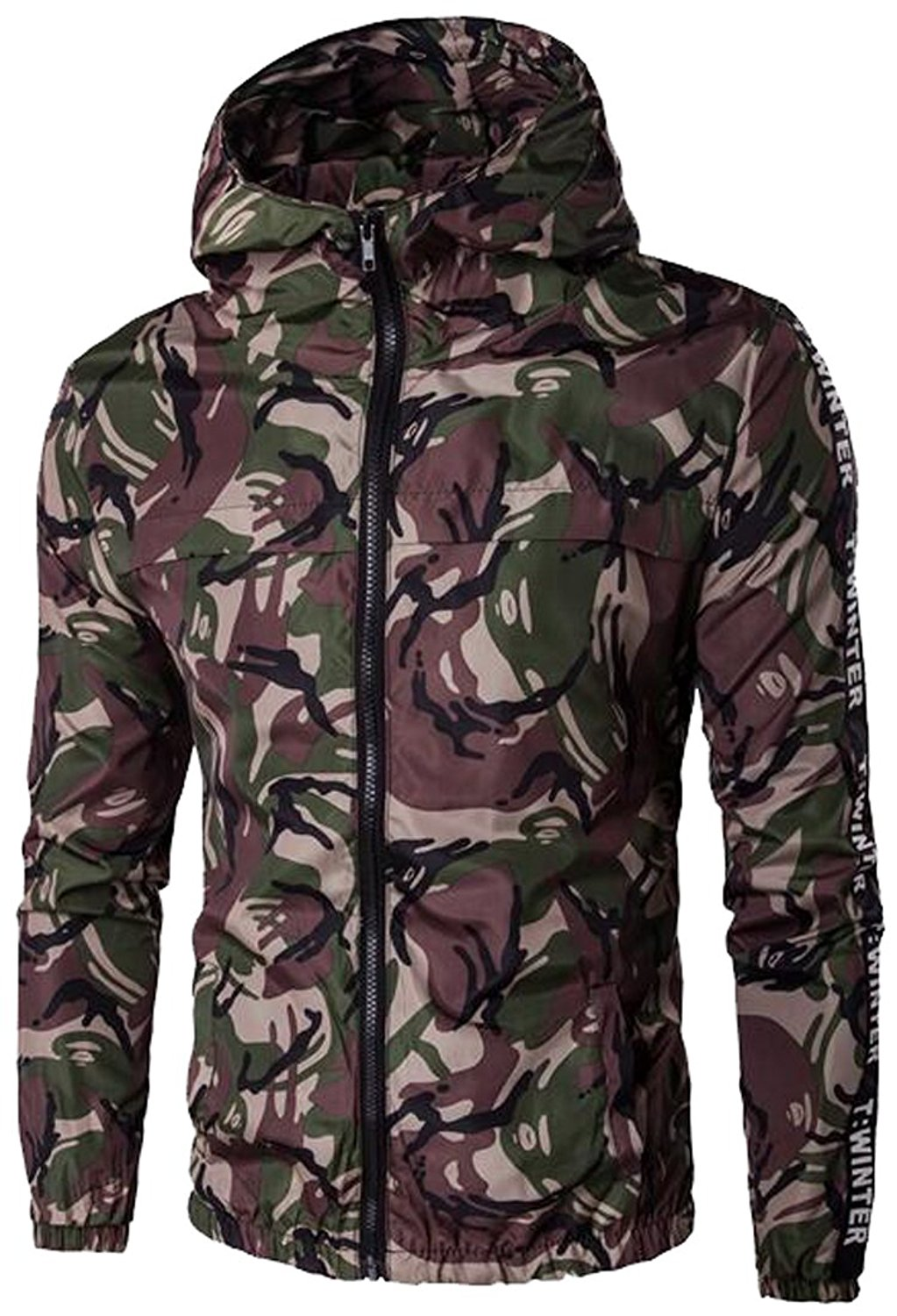 Oberora Men's Camouflage Hoodie Military Jacket Zip-Up Coat