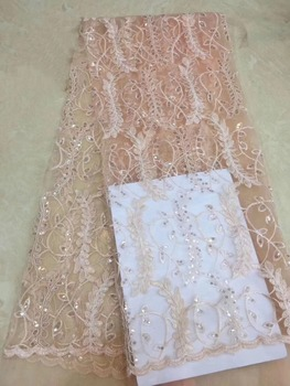 latest high quality african tulle lace fabric 2019 bridal lace fabric for wedding dress 5yard/lot