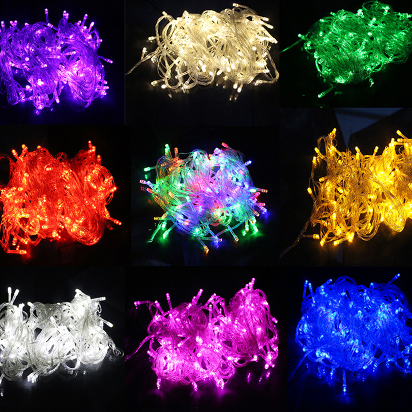 10 M Tahan Air 110 V / 220 V 100 LED String lampu liburan untuk Pesta Natal Festival Peri Colorful Xmas LED String lampu