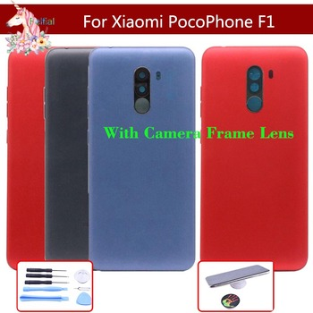 10pcs/lot For Xiaomi PocoPhone F1 f1 Battery Cover Back Housing Rear Door Case With Camera Frame Lens Battery Cover Replacement