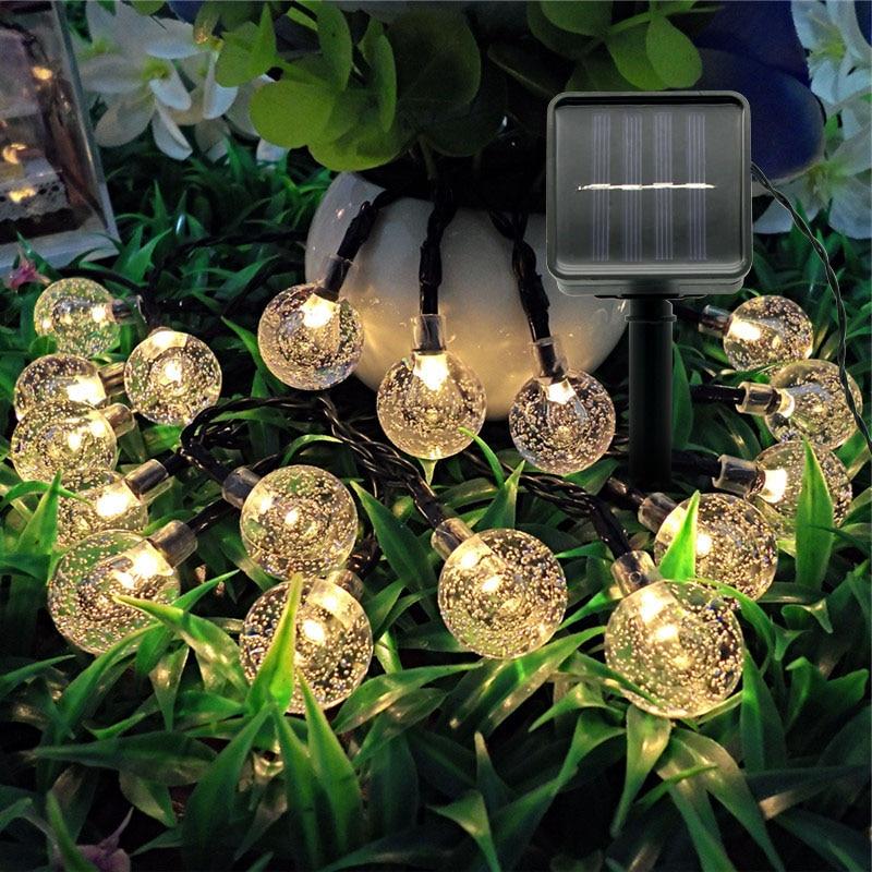 Solar Powered LED String Light Multicolor Crystal Ball Fairy Lights Outdoor Garden Landscape Lamp Decoration Lighting