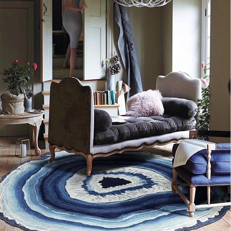 modern fashion annual wood ring creative large round rug
