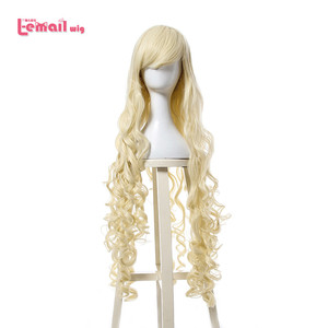 Image 1 - L email wig 40inch 100cm Long Cosplay Wigs 10 Colors Long Wavy Black Red Brown White Synthetic Hair Perucas Cosplay Wig