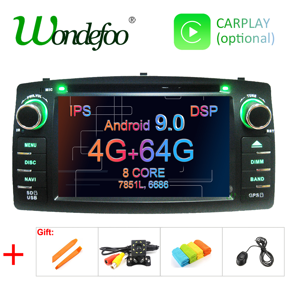 DSP 2 din Android 9 0 4G 64G car dvd player For Toyota Corolla E120 BYD