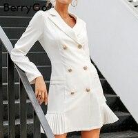BerryGo Office lady solid women's blazer dress Elegant ruffle casual blazer 2018 Autumn winter double breaste slim blazer dress