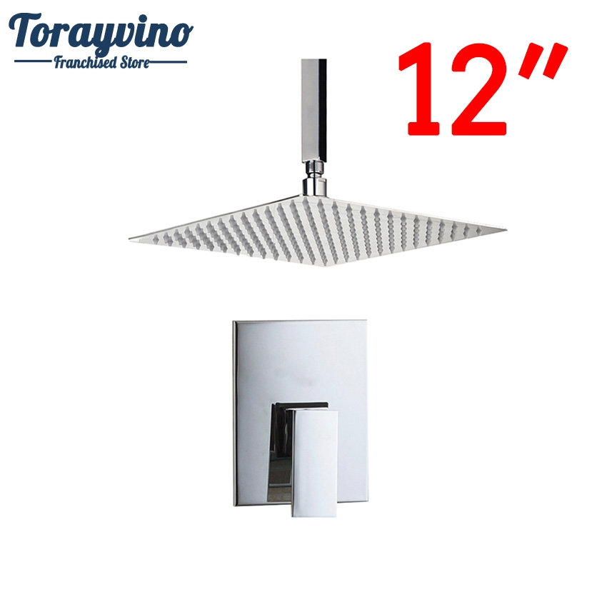 Torayvino Bathroom Ceiling Mount 12 Ultra-thin Rainfall Shower Head&Control Valve Wall Mounted Hot&Cold Water Mixer Shower Set