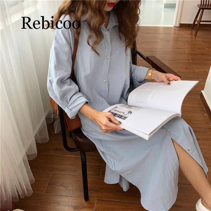 Vintage autumn Long Dress long Sleeve shirt turn down collar woman Lady loose shirt Casual Fashion maxi Dress cotton blue white in Dresses from Women 39 s Clothing