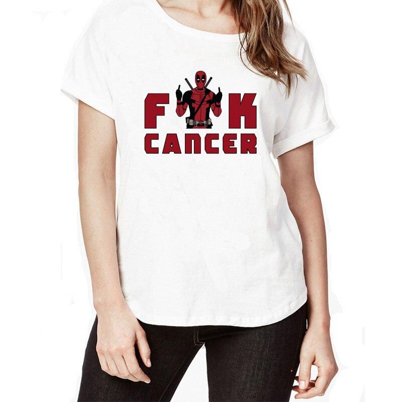 Newest Fashion Deadpool Funny Cartoon T Shirt Women Hip Pop Short Sleeve T-shirt Fuck Cancer Pink Deadpool Tees