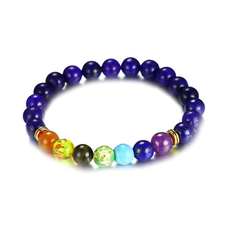 Healing 7 Chakras Balance Bracelet With Lapis Lazuli Stone Beads Braslet for Men Mala Yoga Male Jewelry