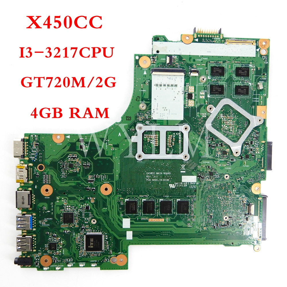 X450CC motherboard 4GB RAM I3-3217CPU GT720M/2G mainboard REV2.1 For ASUS X450CC X450C Y481C X450 Laptop motherboard TestedX450CC motherboard 4GB RAM I3-3217CPU GT720M/2G mainboard REV2.1 For ASUS X450CC X450C Y481C X450 Laptop motherboard Tested