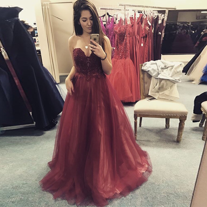 Sweetheart Burgundy   Prom     Dress   A-line Appliques Beading 2019 Women Formal Party Gowns Custom Full Length Vestido De Formatura