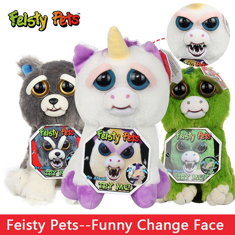 Feisty Pets Stuffed Plush Dolls Toys Soft Short Plush Change Face Cute Prank Funny Cartoon Animal Model for Kids Gift Facebook