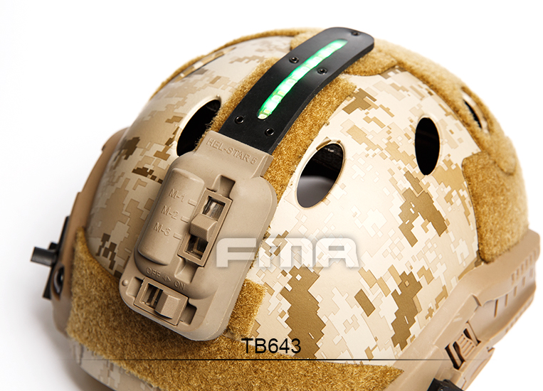 FMA High-end Helmets Strobe Device Night-light HEL-STAR 5 Green Light for Outdoor Tactical Helmet Accessories TB640/TB643 fma maritime helmet multicam black tb1084