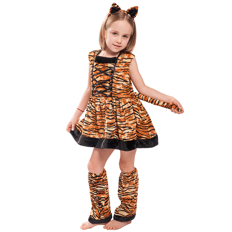 Eraspooky Carnaval Costumes For Kids Cute Head band Children Cosplay  Lovely Halloween Costume Tiger Costume Dress For Girls
