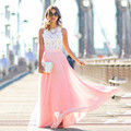 2017 Summer Fashion Elegant Crochet Lace Stitching Chiffon Maxi Long Dress Sleeveless Back Zip With Lining Party Dress Vestidos