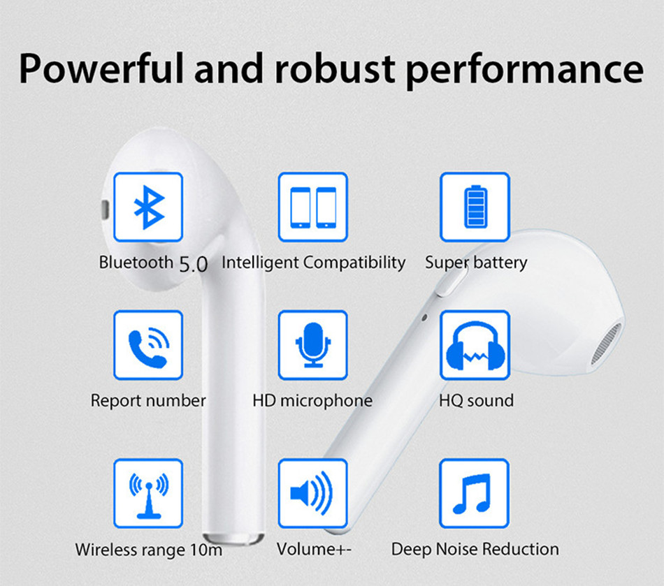 VIKEFON Upgraded i7 i7s TWS Mini Wireless Bluetooth 5.0 Earphone In Ear Stereo Earbud Headset Mic Binaural call For All Phones