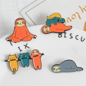 Sleepy Yoga Funny Smile Sloth Lazy cat koala pin Colorful Animal Designable lapel pins Badges Brooch Jewelry Gift for kids girl