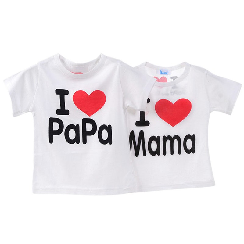 Baby Kids Unisex Boys and Girls Short Sleeve T-shirt I Love Mama & Papa Love Section Cotton Tops Tee Shirt