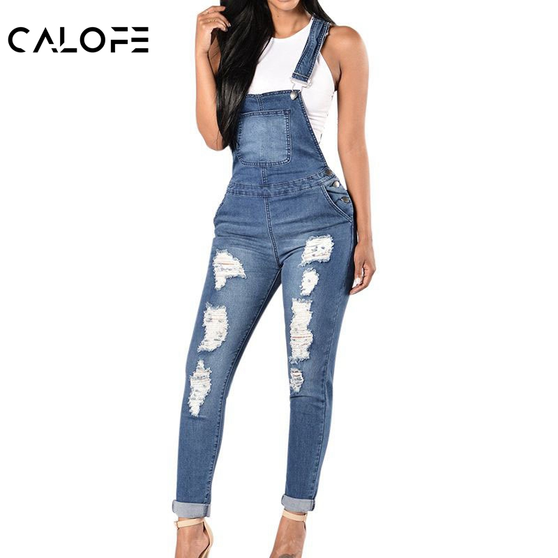 CALOFE Sleeveless Jumpsuits Jeans Rompers Women Overalls Ripped-Holes Cool-Denim Casual