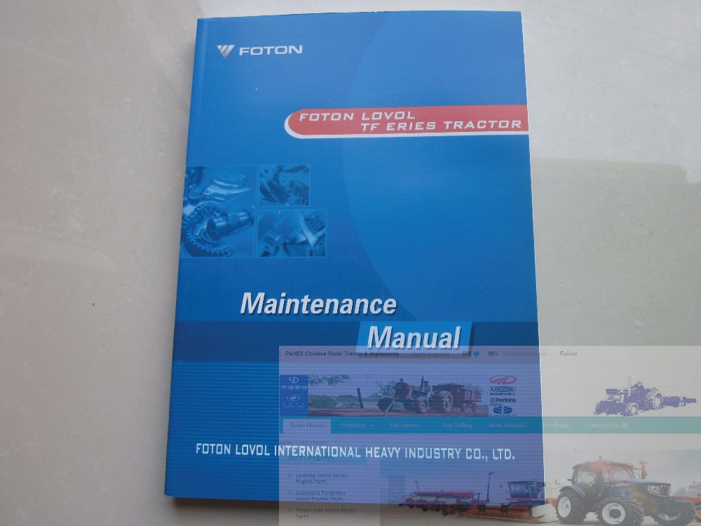 Foton Lovol Europard TF Series tractor parts catalog-the maintenance manual, English version