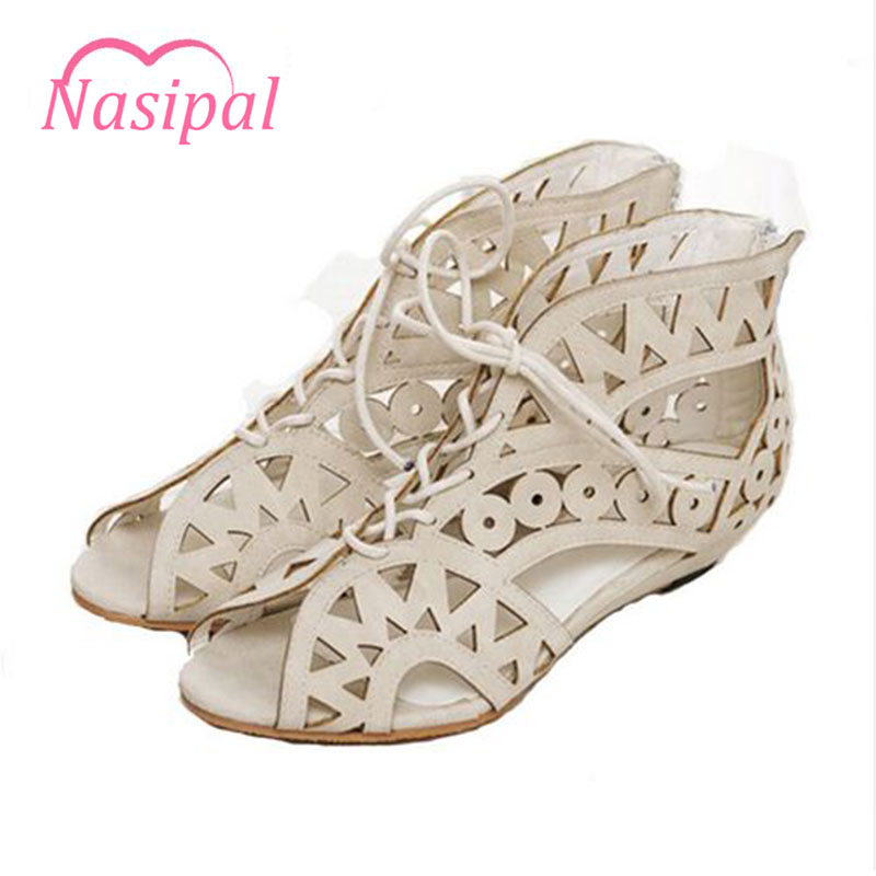 Nasipal Fashion Cutouts Lace Up Women Sandals Open Toe Low Wedges Bohemian Summer Shoes Beach shoes women Big Size 31-43 G951