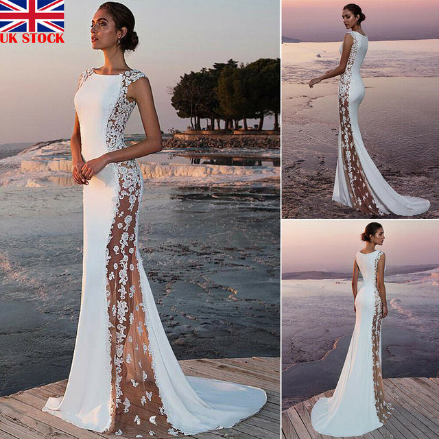 Hot Women Maxi Dress Formal O-Neck Lace Solid Bodycon Sheer Sleeveless White Wedding Party Bridesmaid Formal BallGown