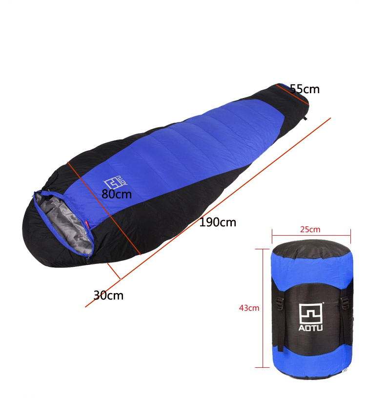 Aotu Fill 1800G winter sleeping bag duck down camping Adult mummy travel Waterproof extreme cold weather sleeping bag gazelle duck down winter camping adult sleeping bag waterproof three seasons spring autumn winter sleeping gazelle sb13