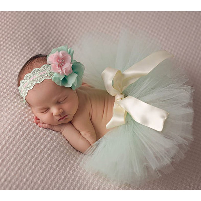 Baby Photography Props Blue Ball Gown with Adjustable Headband Suitable Newborn Handmade Baby Tutu Skirt Headband цена